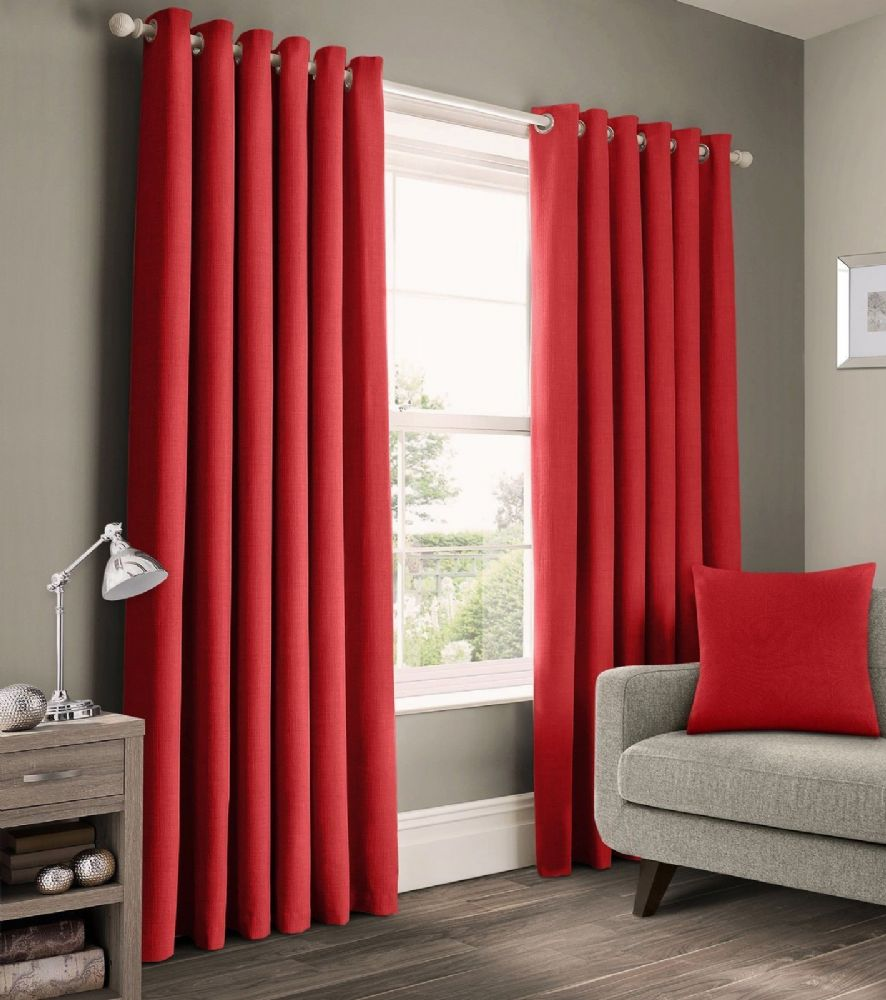 READY MADE PLAIN 100% COTTON MATERIAL UN-LINED RINGTOP EYELET PAIR OF CURTAINS RED